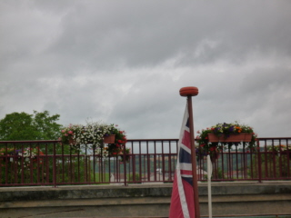 Flower displays on lock bridge