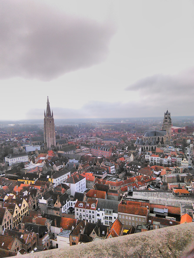 View of Brugge from top of the belfry