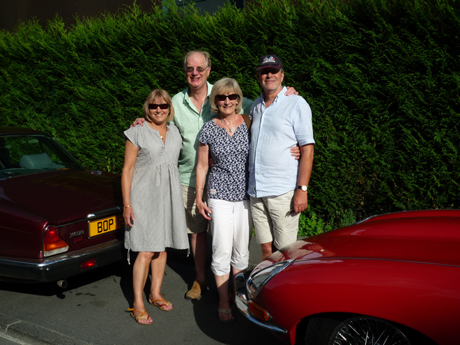 Christine, Ed, Penny and Roger with their Jaguars